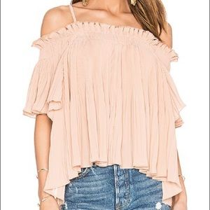 Off the shoulder pleated rose top